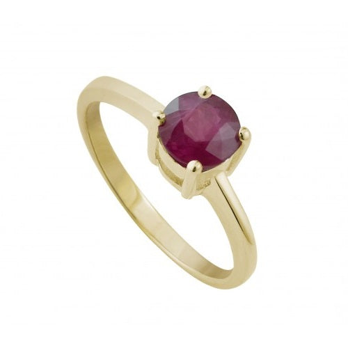 9ct Yellow Gold 5mm Ruby Claw Set Ring