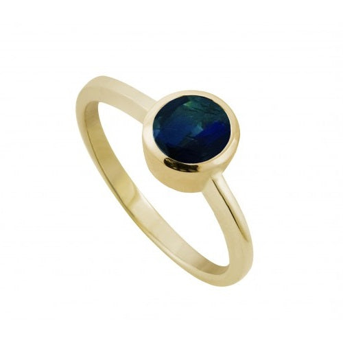 9ct Yellow Gold 5mm Sapphire Rubover Set Ring