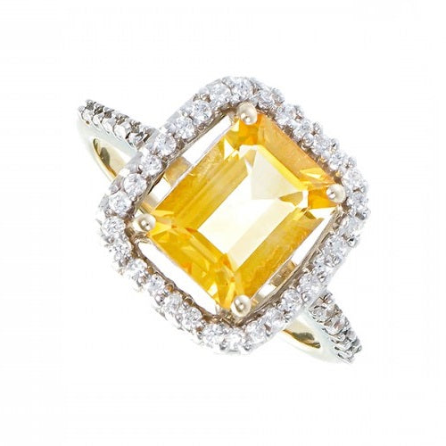 Citrine & CZ Cluster Ring 9ct Yellow Gold