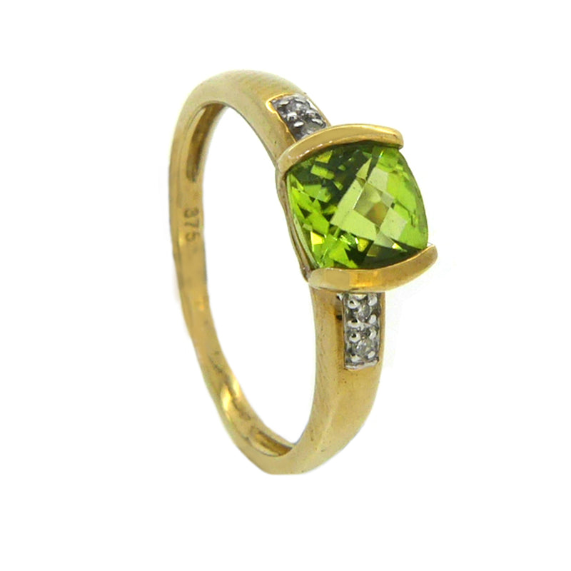 Peridot Chequerboard & Diamond Ring 9ct Gold side