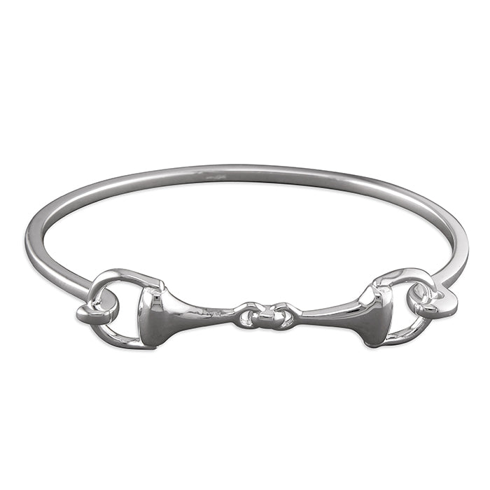 Sterling Silver Double Hinged Snaffle Bangle H2202
