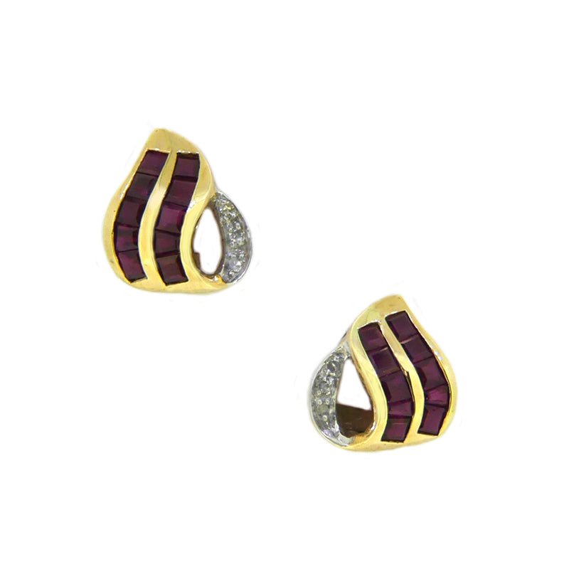 9ct Yellow Gold Ruby & Diamond Earrings HXY401