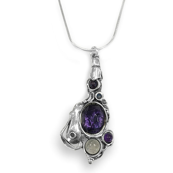 Aviv Sterling Silver Necklace with Amethyst and Labradorite