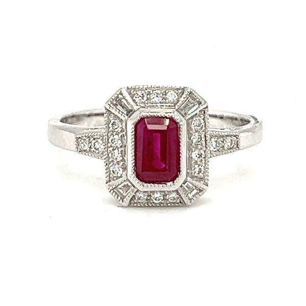 Ruby & Diamond Deco Style Cluster Ring 18ct White Gold