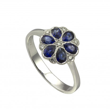 Sapphire & Diamond Pear Cluster Ring 18ct White Gold