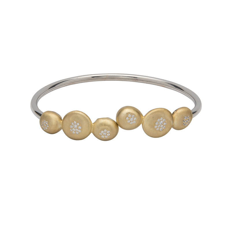 Sterling Silver CZ Gold Plated Bubble Bangle Unique & Co