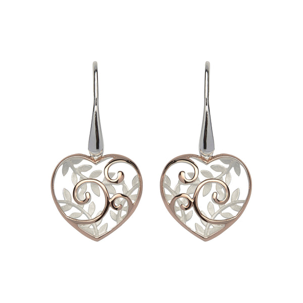 Unique & Co Sterling Silver Drop Earrings with Rose Gold Plating ME-566