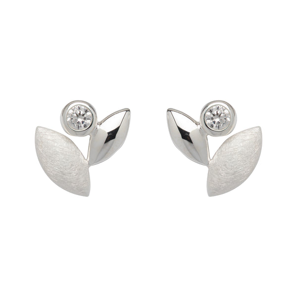Unique & Co Sterling Silver Stud CZ Earrings ME-676