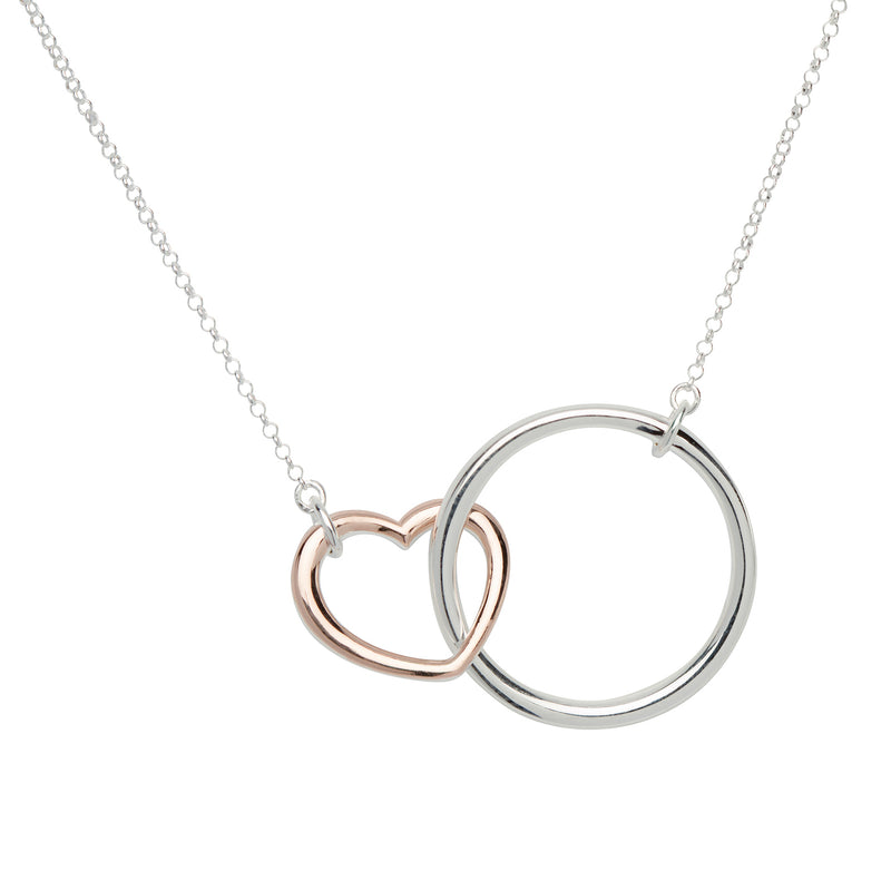 Unique & Co Sterling Silver Heart & Circle Pendant with Rose Gold Plating MK-638