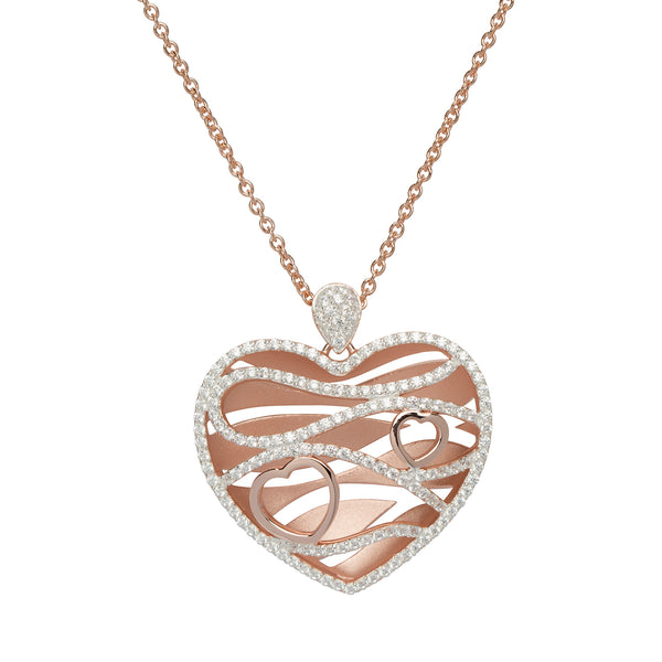 Unique & Co Sterling Silver & CZ Heart Pendant with Rose Gold Plating MK-644