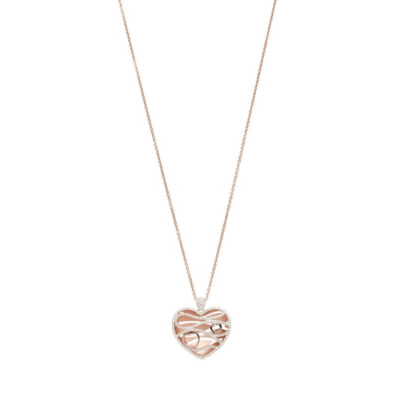Unique & Co Sterling Silver & CZ Heart Pendant with Rose Gold Plating MK-644 Long