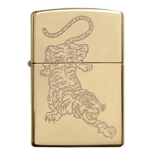 Zippo High Polished Brass Tiger Lighter 29884