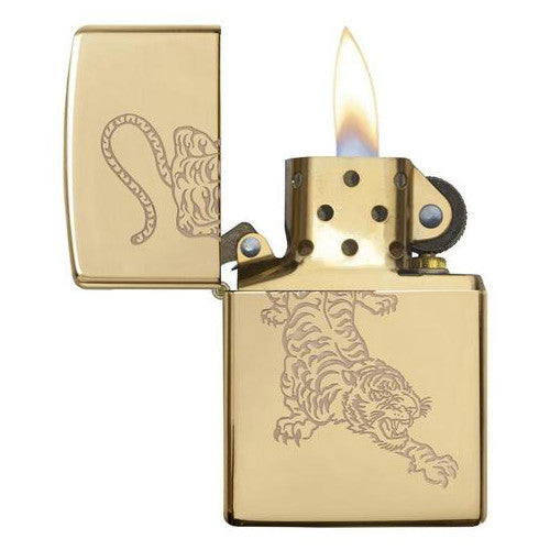 Zippo High Polished Brass Tiger Lighter 29884 open