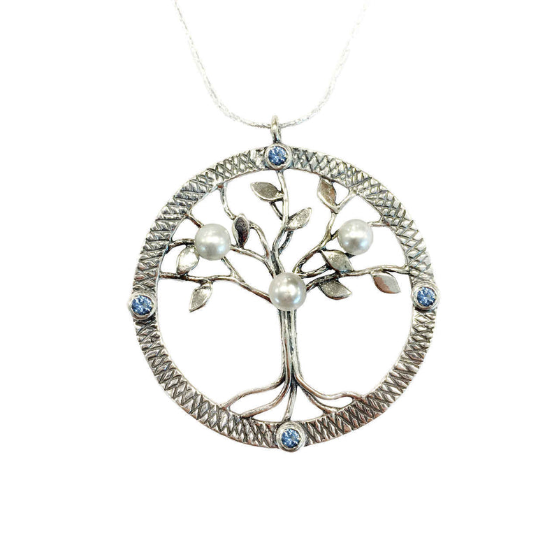 Aviv Silver Large Tree of Life with Pearls and Blue Topaz CZ N03004