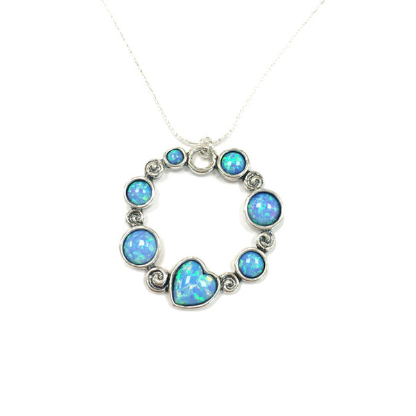 Aviv Silver Circle Heart & Round Opal Necklace N03267