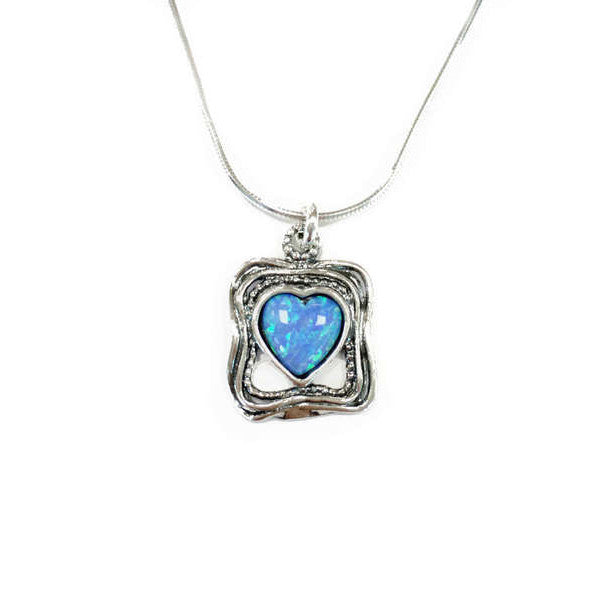 Aviv Silver Square Pendant with Heart Opal