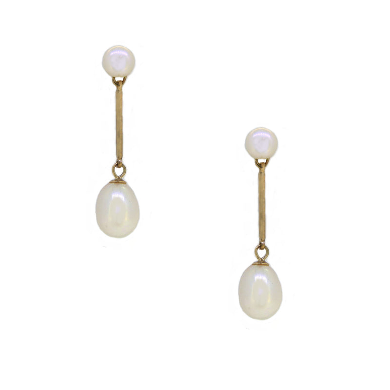 Cultured Fresh Water Pearl Drop Earring 9ct Gold