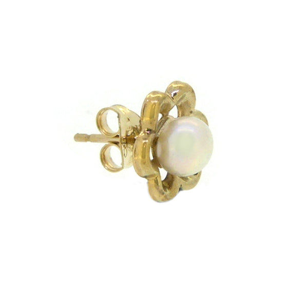 5mm Fresh Water Cultured Pearl 9ct Gold Flower Surround Earring side