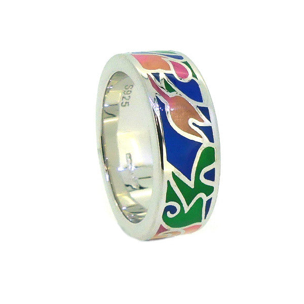 Silver colourful Enamel band Ring PUR009EN