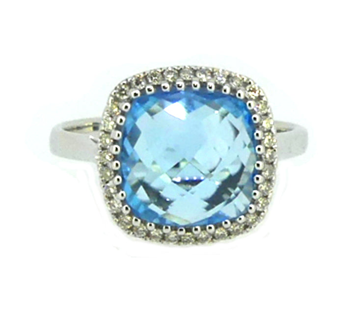 Blue Topaz & Diamond Ring 9ct White Gold
