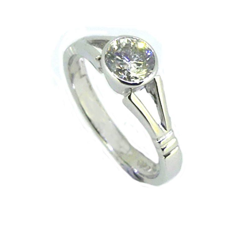 Solitaire Diamond Rub Over Set Ring 0.65ct