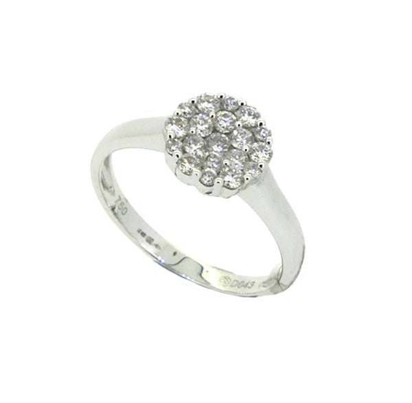 Diamond 20 Stone Cluster Ring 0.43ct 18ct White Gold