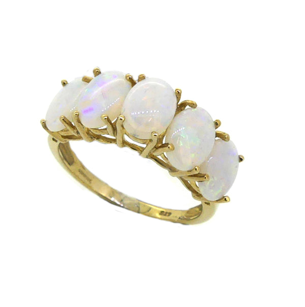Opal 5 Stone Ring 9ct Gold