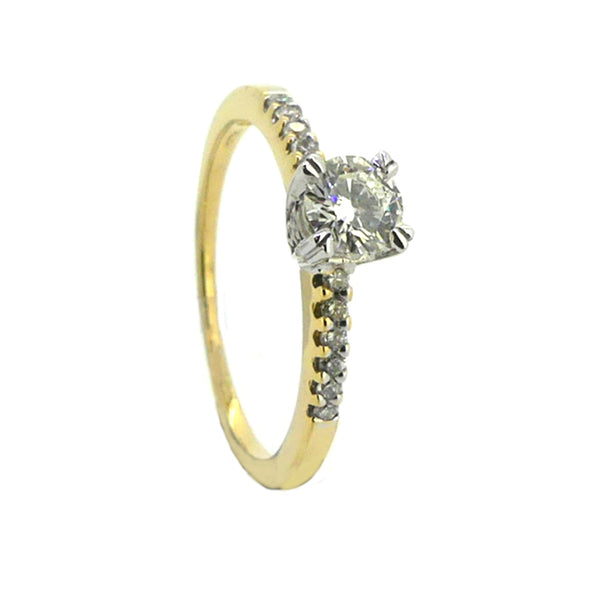 Solitaire 0.30ct Diamond Ring Diamond Set Shoulders 18ct Yellow Gold