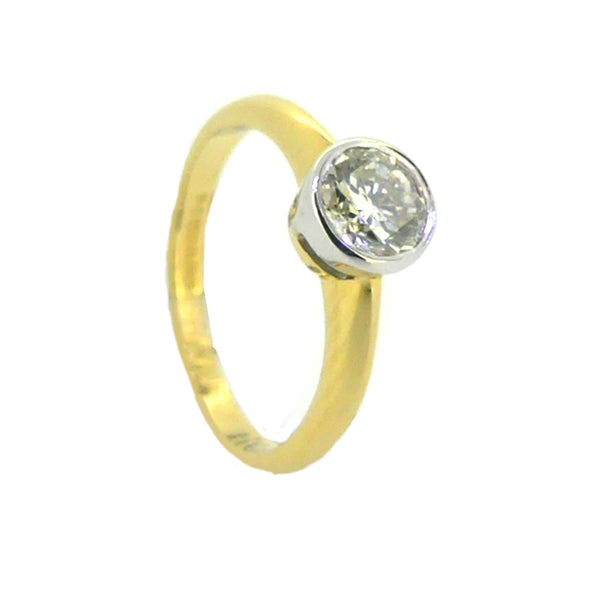 Solitaire 0.60ct Diamond Ring Rub Over Set 18ct Yellow Gold