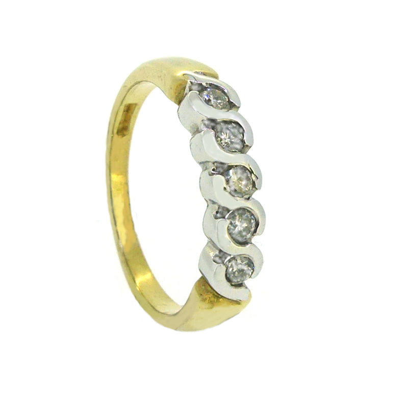 Diamond Eternity Ring 0.30ct Twist Bar Set 9ct Gold