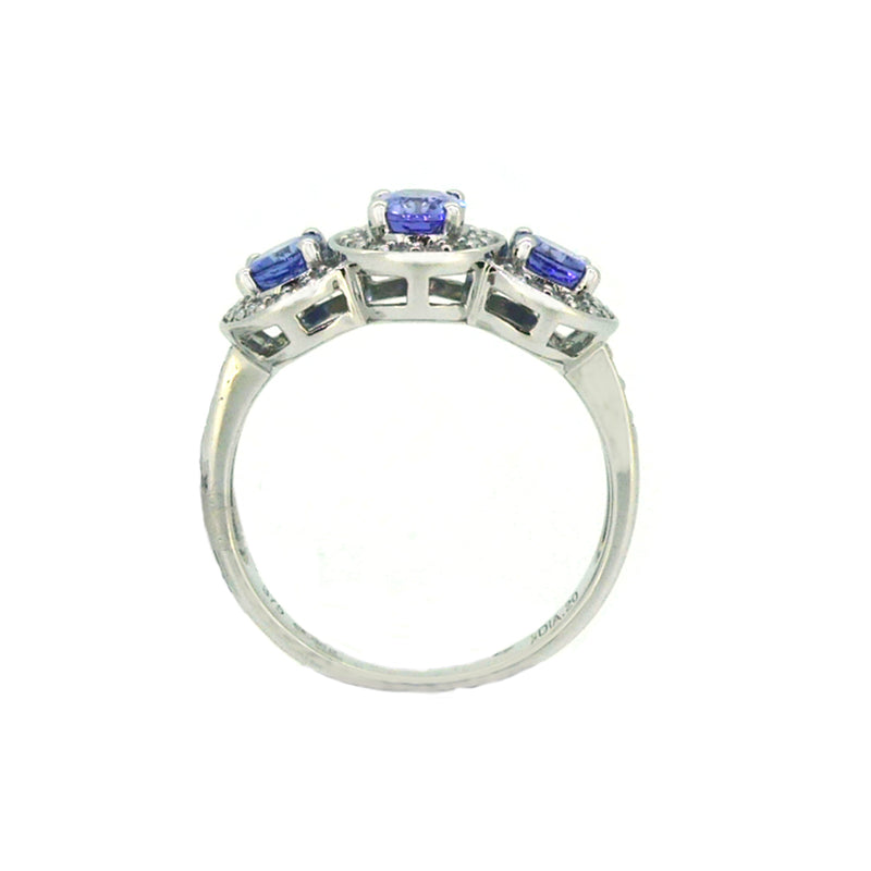 Tanzanite & Diamond 3 Stone Cluster Ring