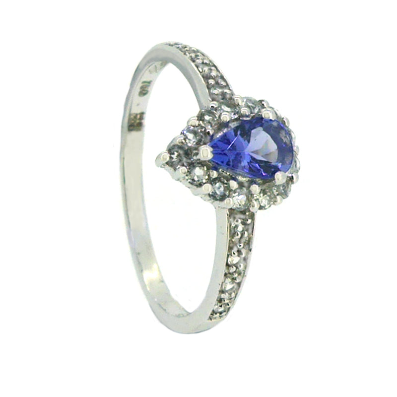 Tanzanite & White Topaz Pear Shaped Cluster Ring