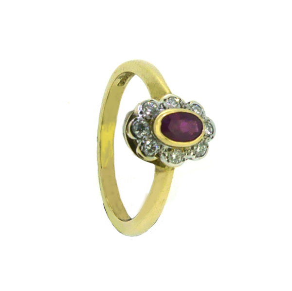 Ruby & Diamond Oval Rub Over Cluster Ring 9ct Gold