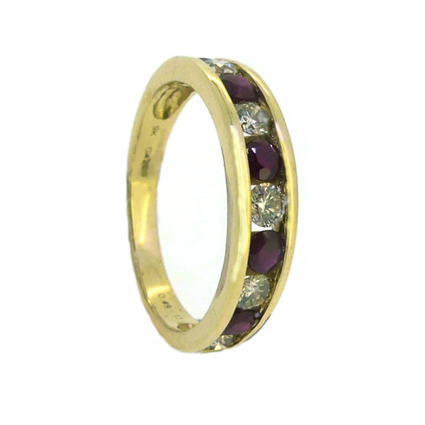 Ruby & Diamond 11 Stone Eternity Ring 9ct Gold