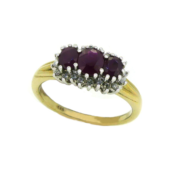 Ruby & Diamond 3 Stone Cluster Ring 9ct Gold