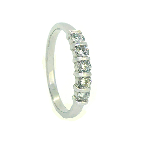 Diamond 5 Stone Eternity Ring 0.33ct Bar Set 18ct White Gold