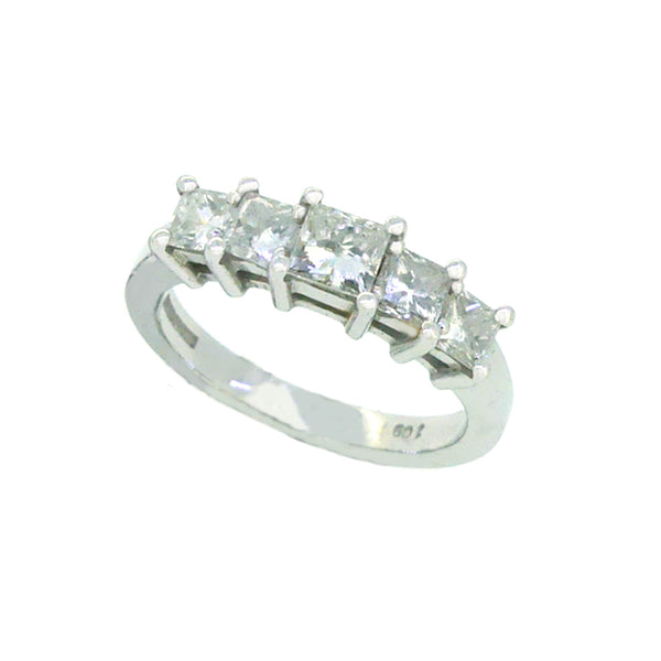 Diamond 5 Stone Princess Cut Eternity Ring 1.00ct 18ct White Gold