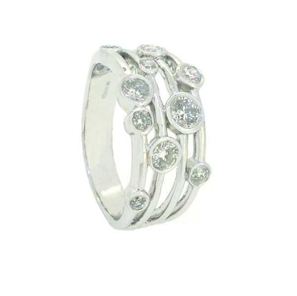 Diamond 4 Bar Bubble Eternity Ring 0.53ct 9ct White Gold