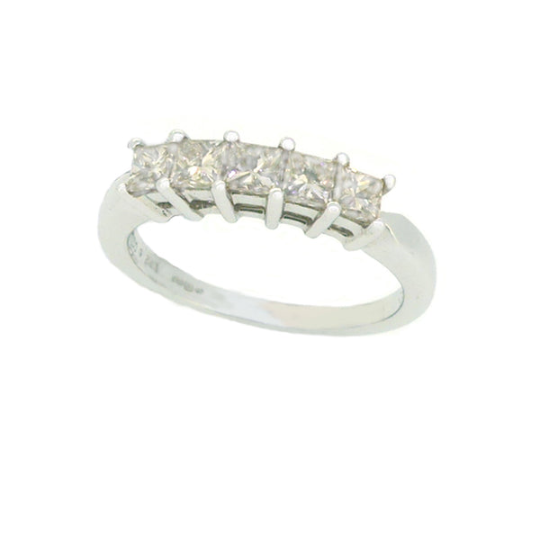 Diamond 5 Stone Princess Cut Eternity Ring 0.75ct 18ct White Gold