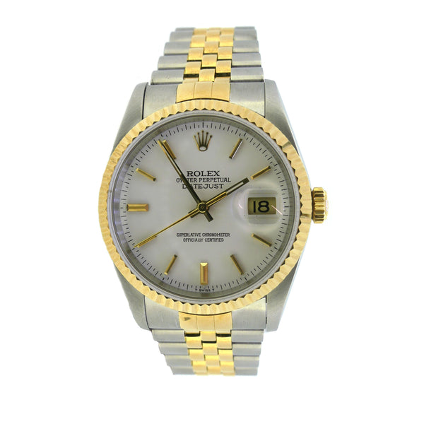 Pre Owned Rolex Datejust 16233 Gents Bi Metal Watch