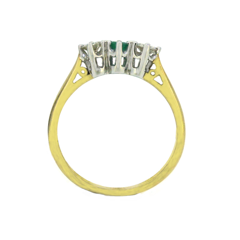 Emerald & Diamond 3 Stone Ring 9ct Yellow Gold