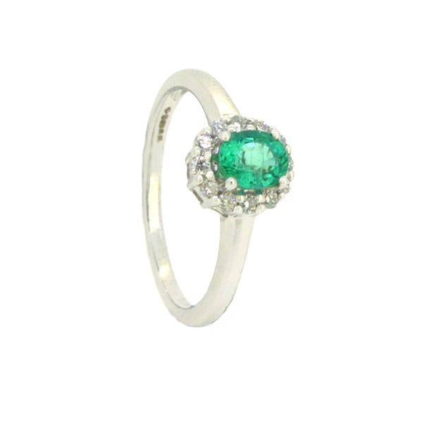 Emerald & Diamond Oval Cluster Ring 18ct White Gold