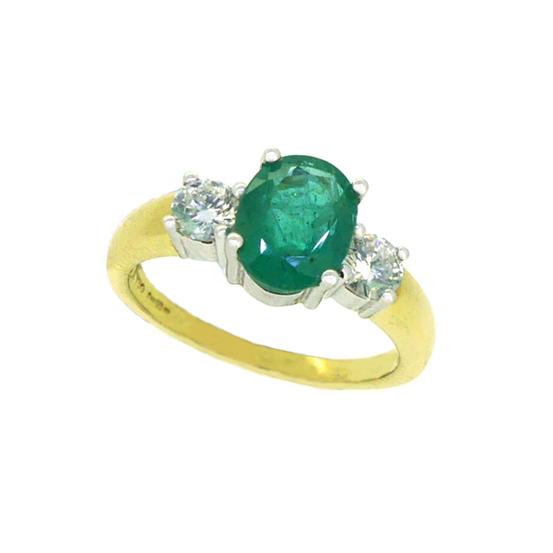 Emerald & Diamond 3 Stone Ring 18ct Yellow Gold