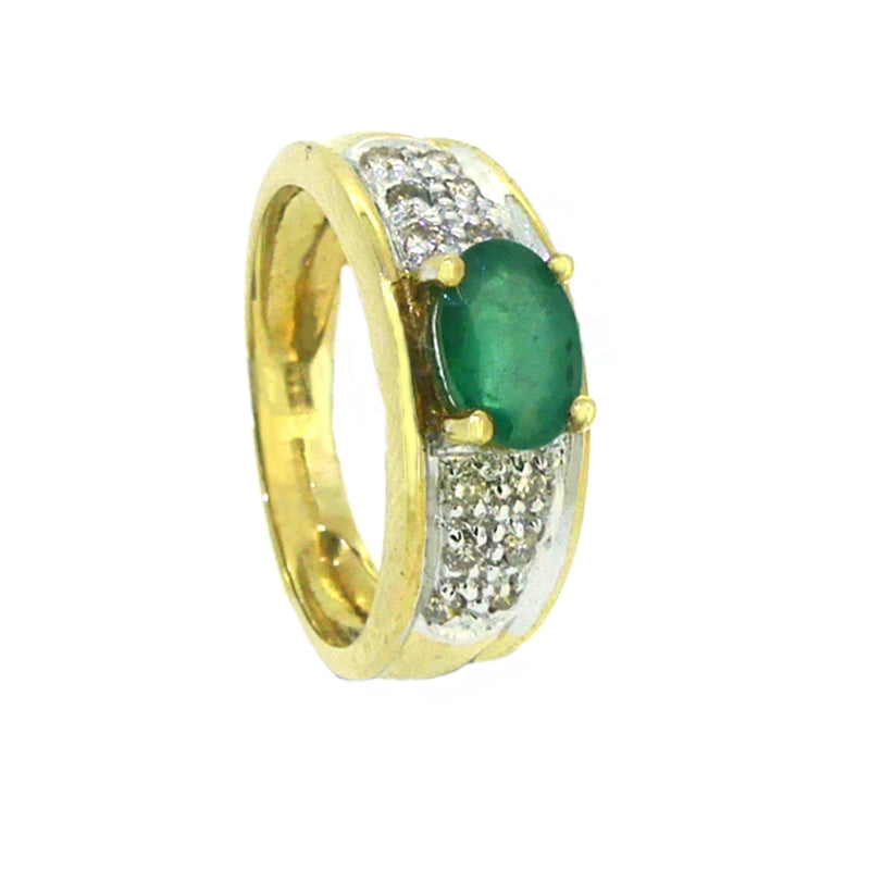 Emerald & Diamond Band Ring 9ct Yellow Gold