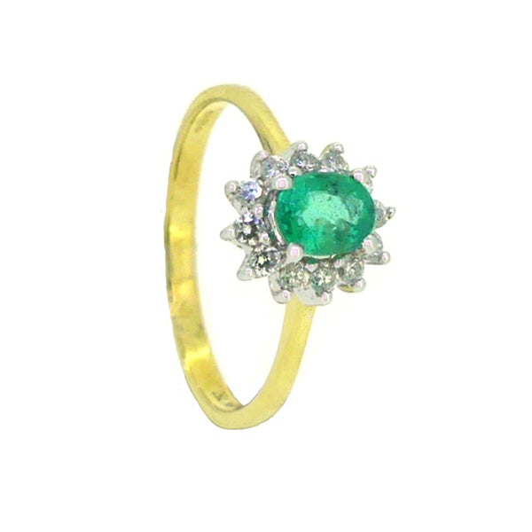 Emerald & Diamond Oval Cluster Ring 18ct Yellow Gold