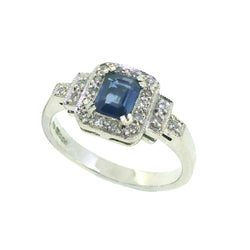Sapphire & Diamond Deco Style Cluster Ring 9ct White Gold