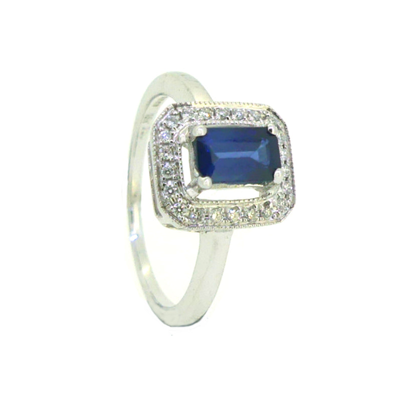 Sapphire & Diamond Oblong Cluster Ring 18ct White Gold
