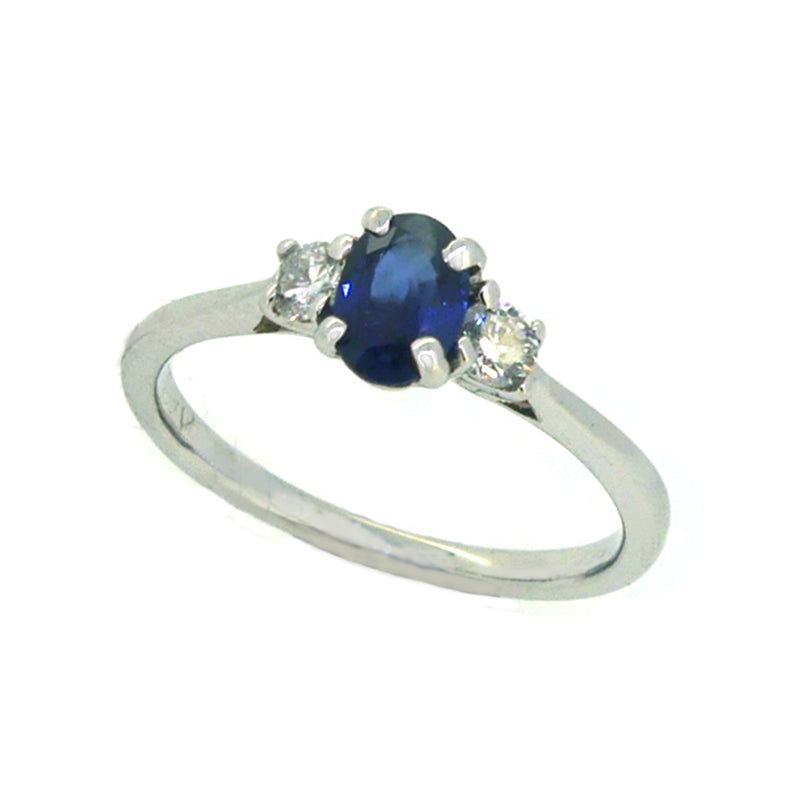Sapphire & Diamond 3 Stone Ring 18ct White Gold