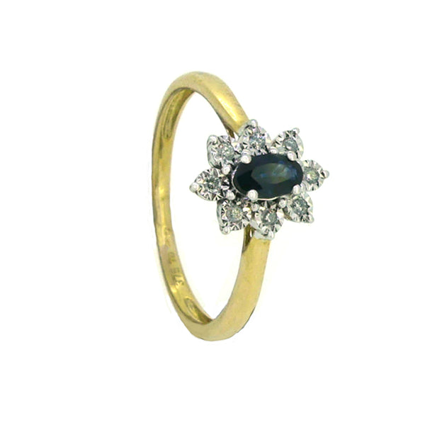 Sapphire & Diamond Oval Illusion Set Cluster Ring 9ct Gold