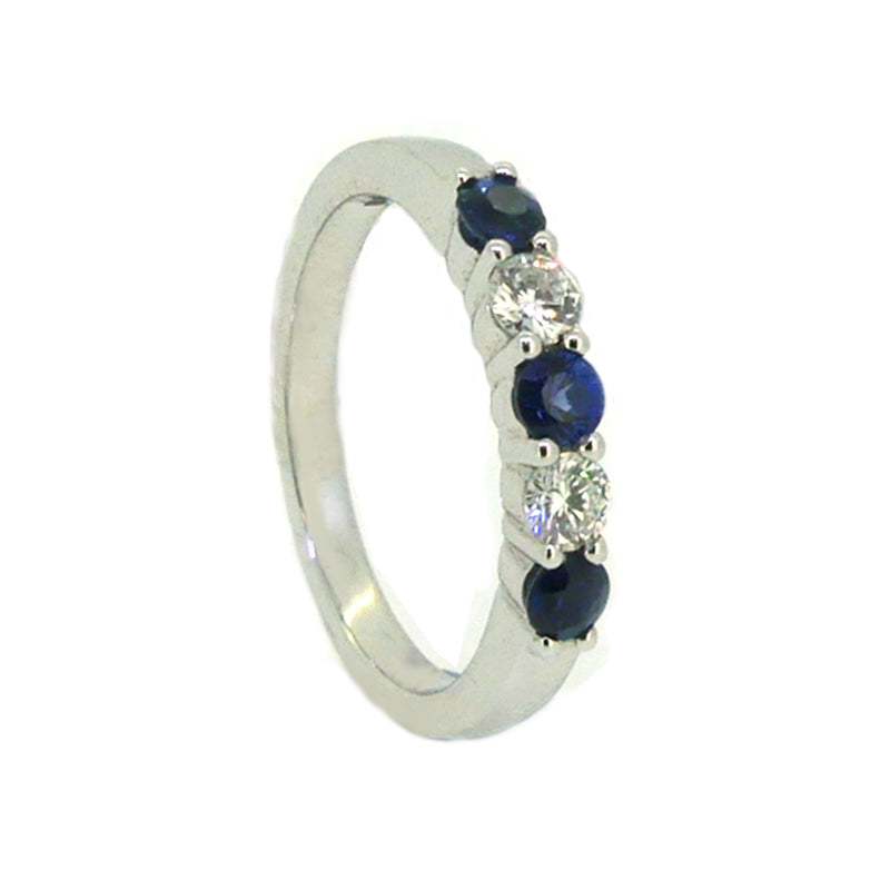 Sapphire & Diamond 5 Stone Eternity Ring 18ct White Gold